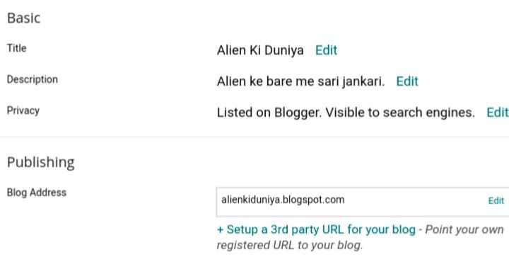 change blogspot blog title description and address