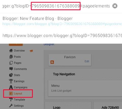 click on layout and see blogId