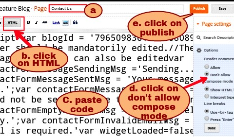 paste contact form code in body part