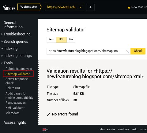 you can check error in sitemap validatort