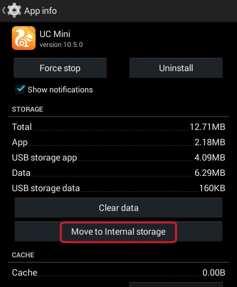 click on move to internal storage or move to SD card