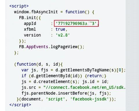 copy facebook app id