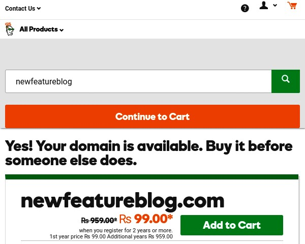 search-your-domain-and-click-on-continue-to-cart