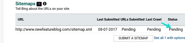 your-sitemap-stauts-will-show-pending