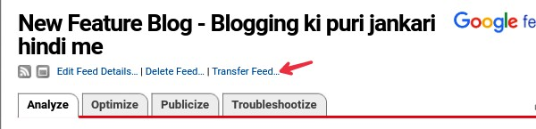 click on transfer feed