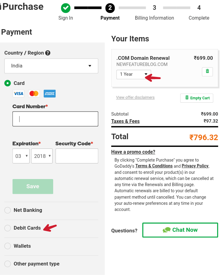 select cards for godaddy domain payment