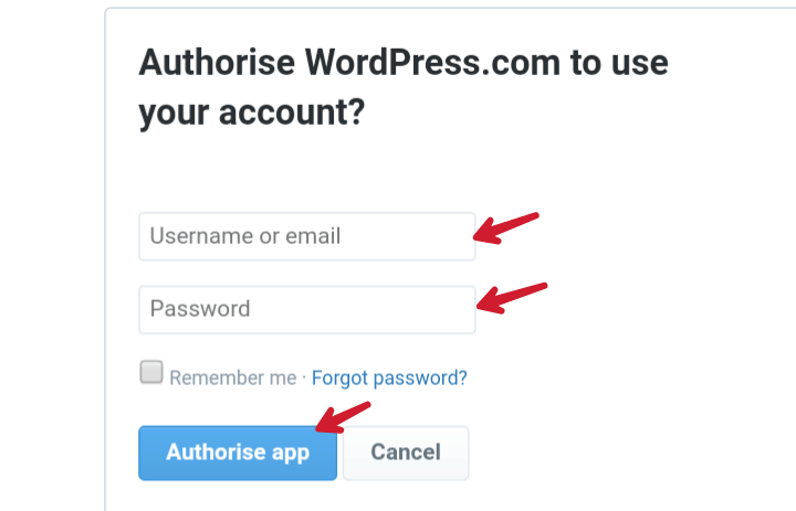 write twitter username password and authorise app