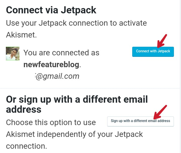 click on connect with jetpack