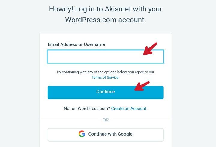 enter wordpres account username or password