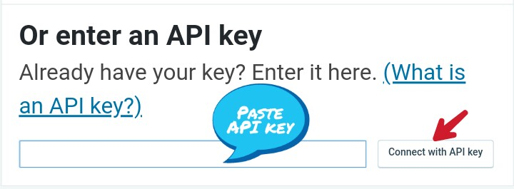 paste api key and click on connect with jetpack