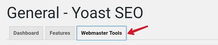 click on webmaster tools in General yoast seo area