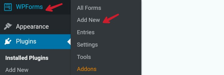 click on wpforms and add new