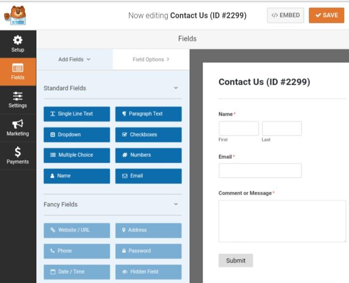 editing wpforms contact form