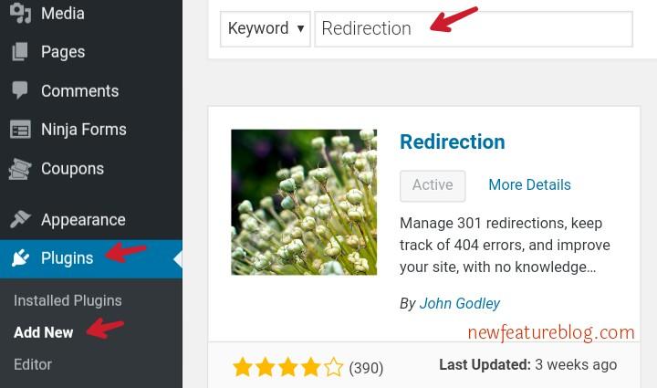 install activate wordpress redirection plugin