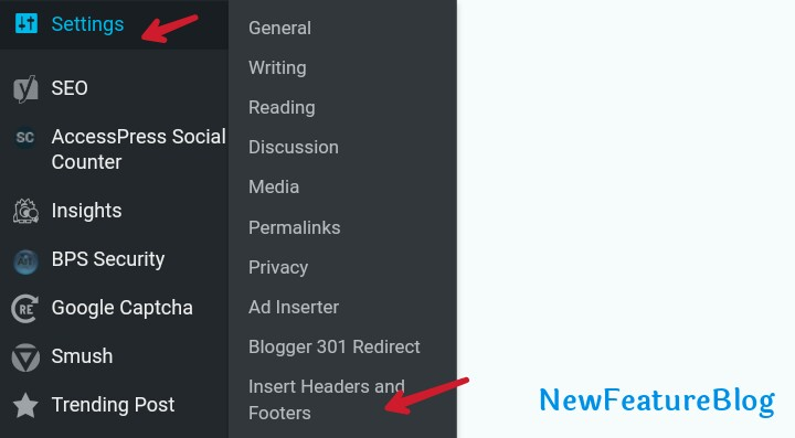click on setting and insert headers and footers