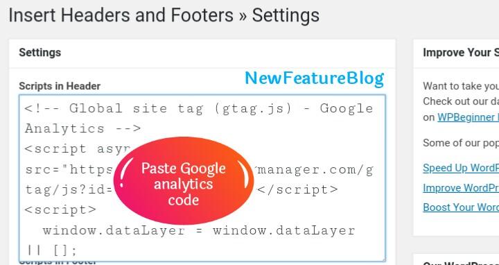 paste google analytics code in scripts in header