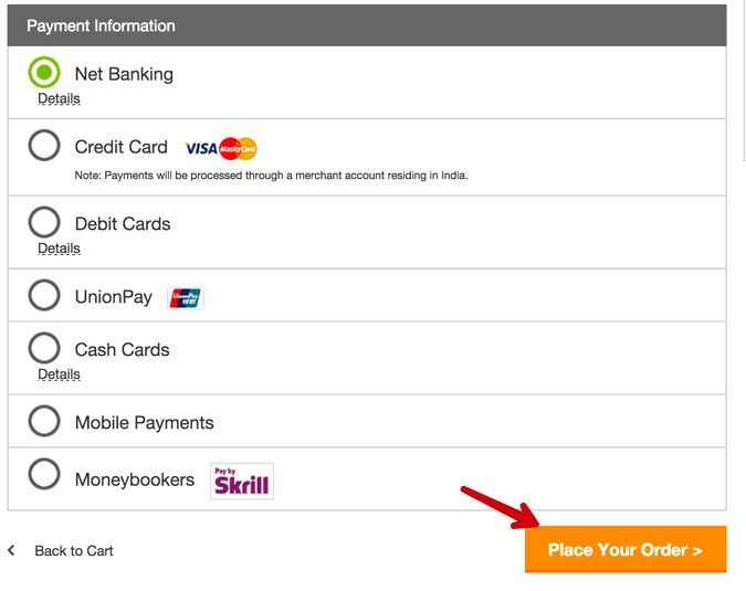 select payment method and click on place your order