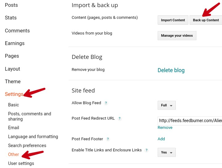 click on setting other and back up content