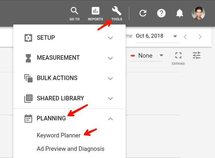 click on tools planning keyword planner
