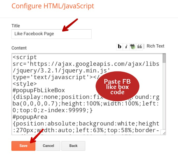 paste facebook popup like box code in content area