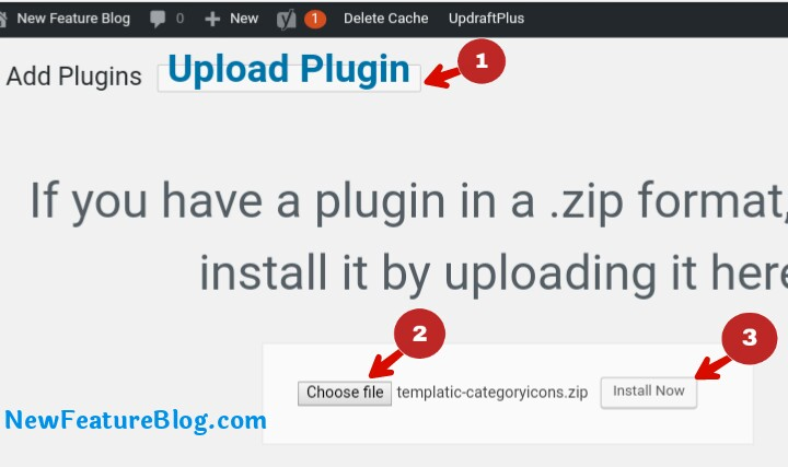 upload wordpress plugin and install