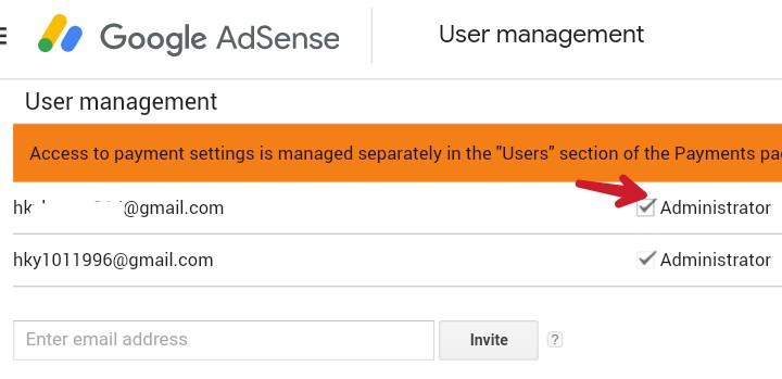 adsense me add new email ke samne adminstrator me tick kare