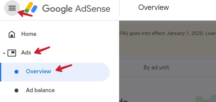 Ads section ke under overview par click kare