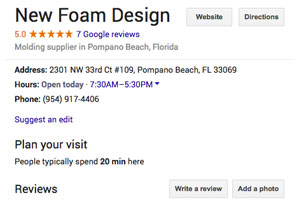 new foam design google reviews