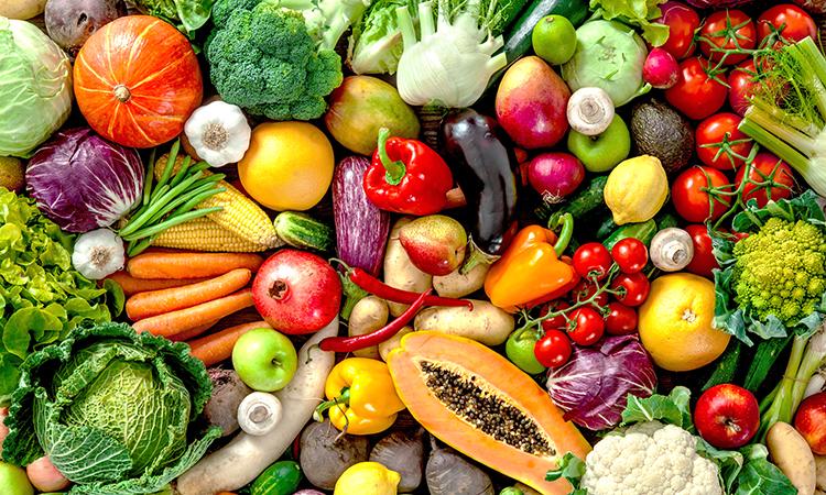 an assormtent of fresh fruit and vegetables