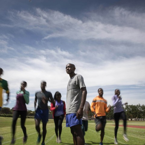 6 December 2018: Samuel Sepeng during a training session with a group of his athletes at Tuks High Performance Centre in Pretoria.