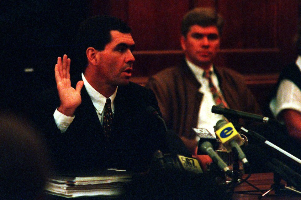 15 June 2000: Hansie Cronje, former captain of the Proteas, testifying during the King Commission in Cape Town. (Photograph by Carl Fourie/Gallo Images)