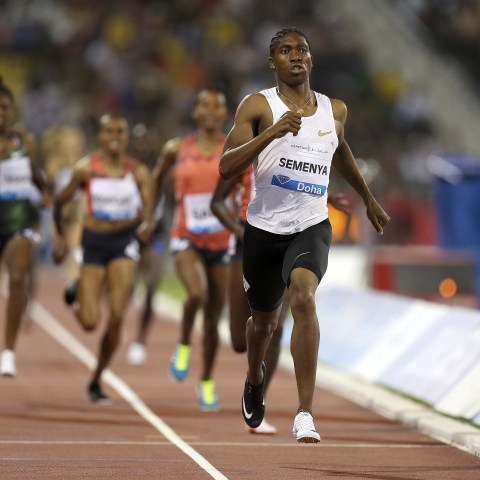 4 May 2018: Caster Semenya wins the women's 1 500m race at the IAAF Diamond League athletic competition at Qatar Sports Club in Doha. (Photograph by Reuters/Ibraheem Al Omari)