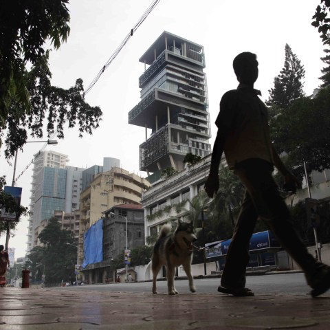 23 October 2010: The towering Mumbai residence of businessman Mukesh Ambani, Chairman of Reliance Industries in India. The 27-storey building allegedly cost more than $1-billion to build. (Photograph by Kuni Takahashi/Getty Images)