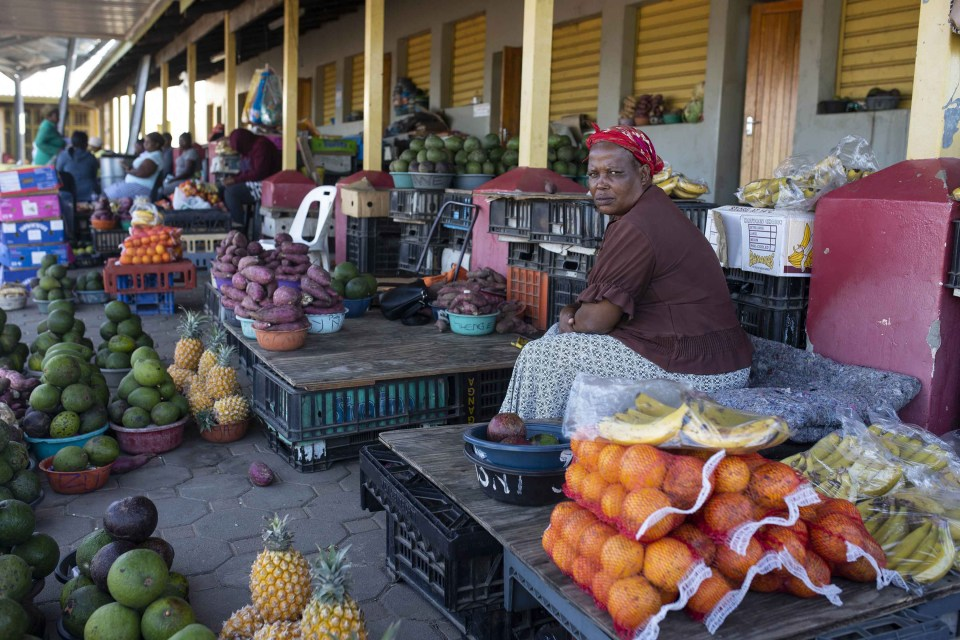 """13 November 2018: Market manager Zanele Khanyile, 51, started working in the market in 1989 and says """"what is nice here is that we know that our children will never go to bed hungry. The downside is that the money is not as good as it used to be""""."""