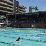 7 December 2018: The Ellis Park Public Swimming Pool is one of the best maintained pools in Johannesburg. On the day New Frame visited the pool the Central Gauteng Aquatic School Championships were underway.