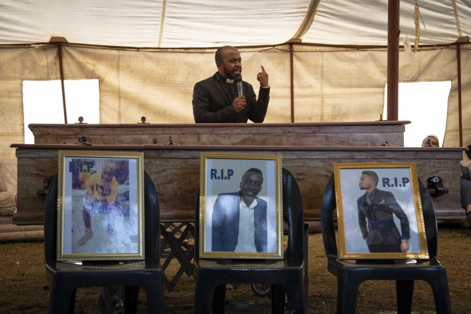 17 February 2019: Photos of the three young men on display during the funeral service. From left to right: Jafari Fiston Binyongo, Bernard Sadiki and Elias Moise Kahindo.