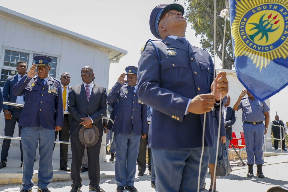 11 December 2018: Western Cape Commissioner Khombinkosi Jula, Police Minister Bheki Cele and Police Commissioner Khehla Sitole at the opening of a new police station in Samora Machel in Cape Town. (Photograph by Gallo Images/Netwerk 24/Adrian de Kock)