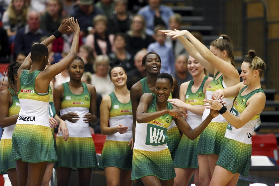 18 September 2018: Bongiwe Msomi of South Africa is introduced with the team during the Quad Series match between the New Zealand Silver Ferns and South Africa Proteas at ASB Arena in Tauranga, New Zealand. (Photograph by Anthony Au-Yeung/Getty Images)