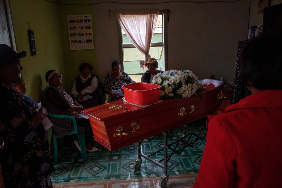 13 April 2019: Many people braved the weather to attend Jason Windvogel's funeral at his home.