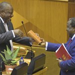 20 February 2019: Tito Mboweni (right) and President Cyril Ramaphosa during the budget speech in Parliament. It was Mboweni's first annual budget speech as minister of finance. (Photograph by Gallo Images/Jeffrey Abrahams)