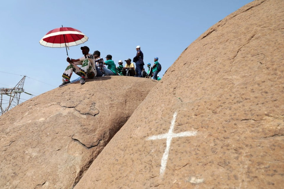 16 August 2018: People gather in Marikana to observe the sixth anniversary of the Marikana massacre. At the event, Amcu President Joseph Mathunjwa described the massacre as a crime against humanity. (Photograph by Gallo Images/Sowetan/Thulani Mbele)