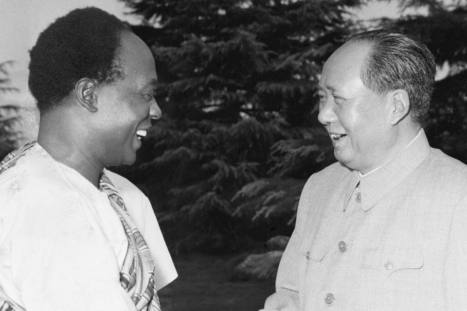 28 July 1962: In a show of China-Africa solidarity, Mao Zedong (right) chats to Ghanaian President Kwame Nkrumah at a meeting in Hangchow, China. (Photograph by Bettman/Contributor)