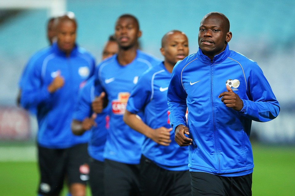 25 May 2014: Hlompho Kekana warms up during South Africa's training session at ANZ Stadium in Sydney Australia. (Photo by Brendon Thorne/Getty Images)