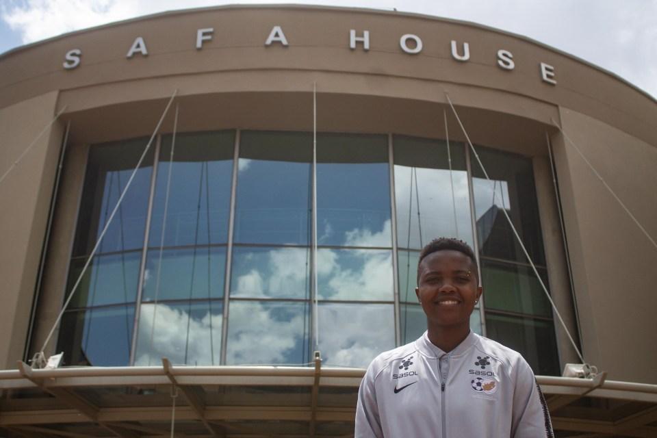 7 November 2018: Banyana Banyana centreback Bambanani Mbane outside SAFA House in Johannesburg.