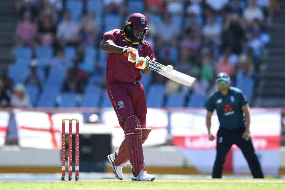 2 March 2019: Chris Gayle of the West Indies smashes a six during the fifth One Day International between England and West Indies at the Darren Sammy Cricket Ground in Gros Islet, Saint Lucia. (Photograph by Gareth Copley/Getty Images)