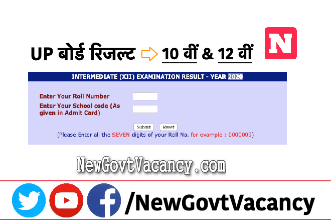 UP Board Result 10th & 12th
