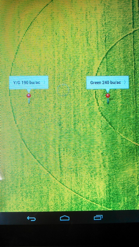 Here are two pins of GPS points where yield estimations were taken based off of the NDVI map created by the drone.
