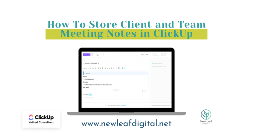 How To Store Client and Team Meeting Notes In ClickUp
