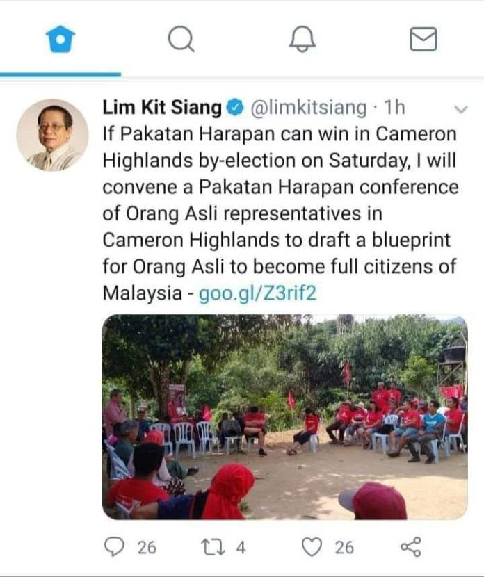 Lim Kit Siang offends Orang Asli again by calling them not full Malaysians.