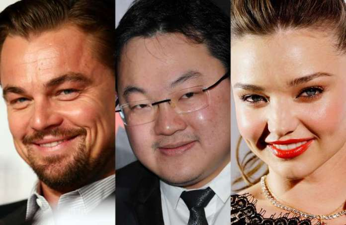 Leonardo DiCaprio (left), Jho Low (middle), Miranda Kerr (right)